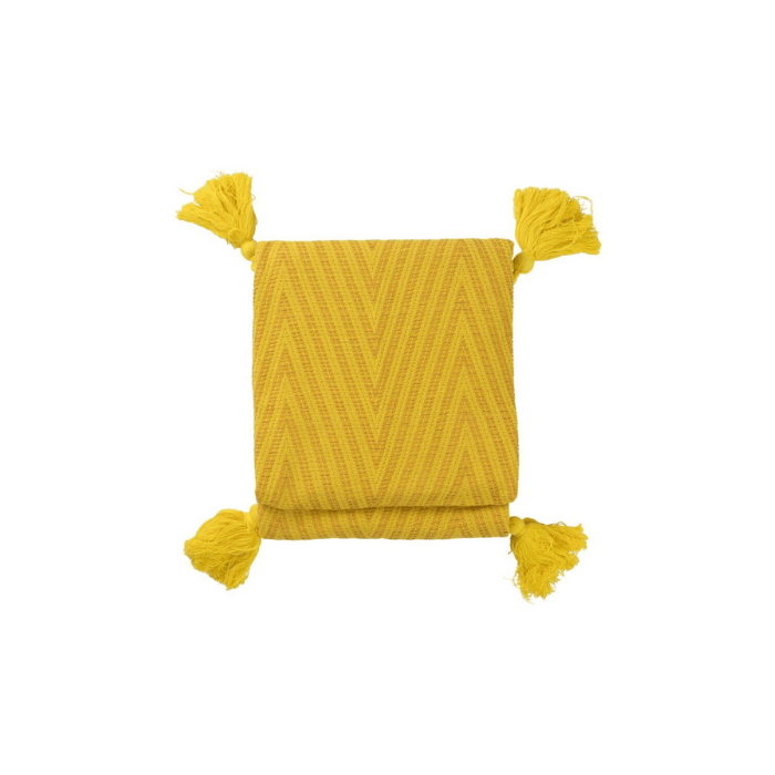 Plaid geel geweven met een zigzagdessin