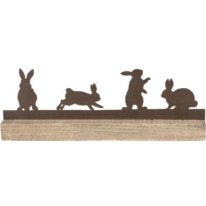 houten balk met konijntjes in metaal