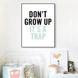 poster met opschrft Don't grow up it's a trap