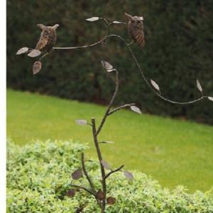 metalen tuinsteker met uiltjes