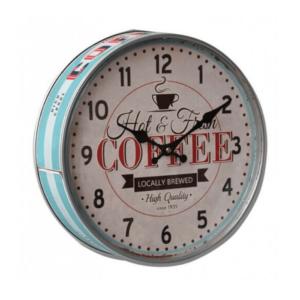 klok in de vorm van koekentrommel met opschrift Coffee