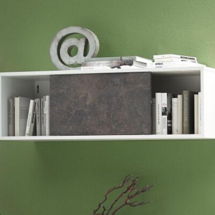 boekenkast hangend wit met schuifbare deur