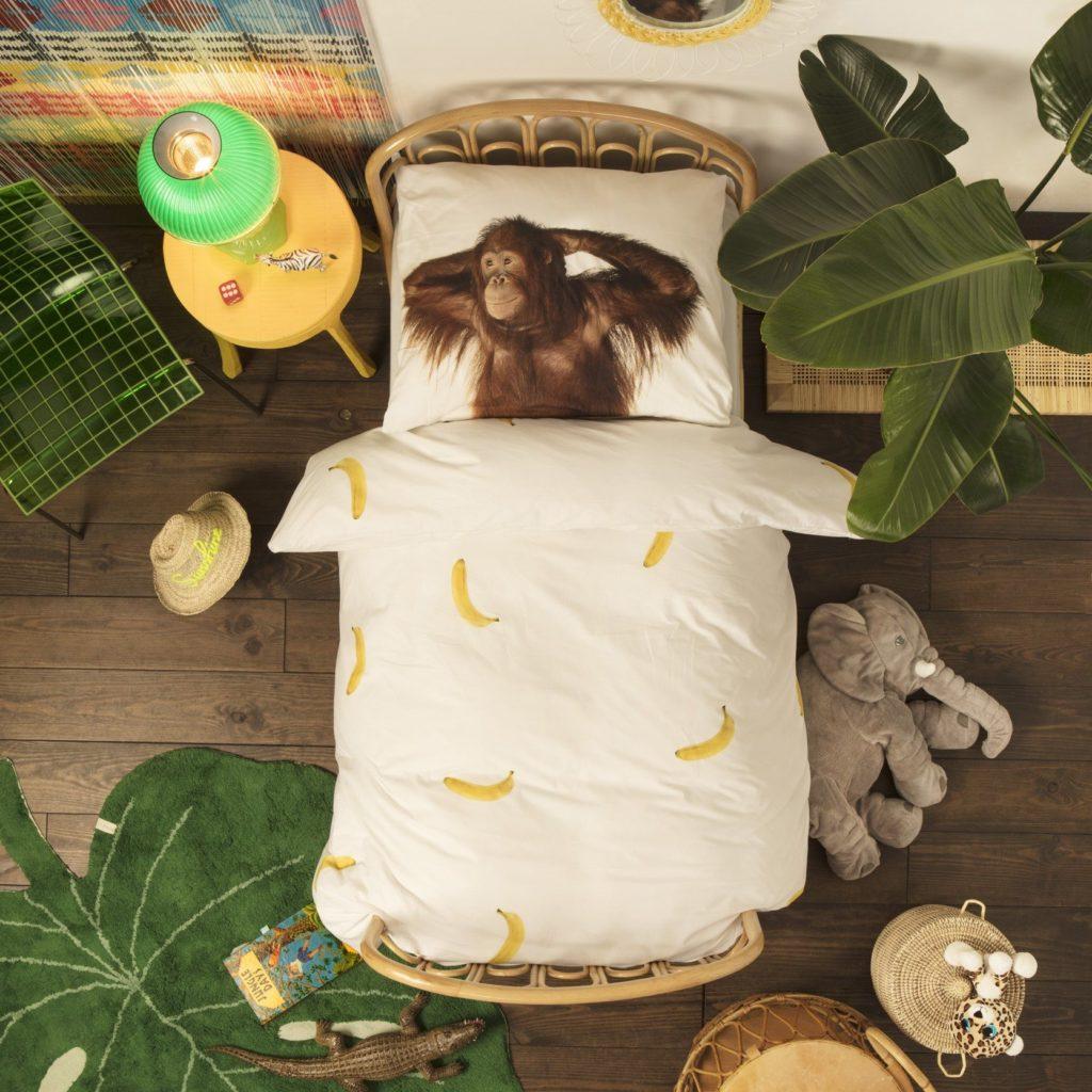 dekbedovertrek aap en bananen