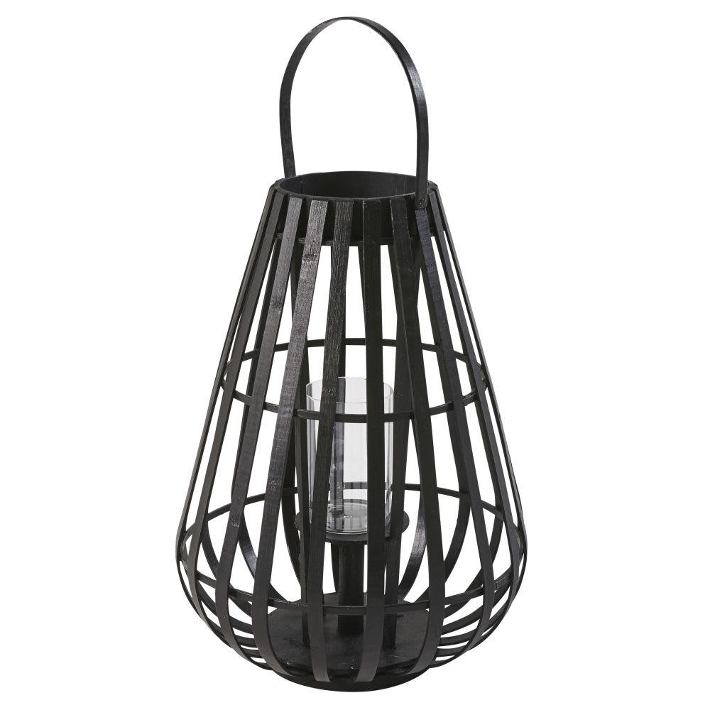 zwart windlicht in peervorm van bamboe met glas