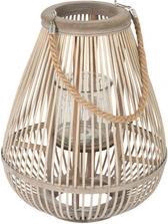 beige windlicht in peervorm van bamboe met glas